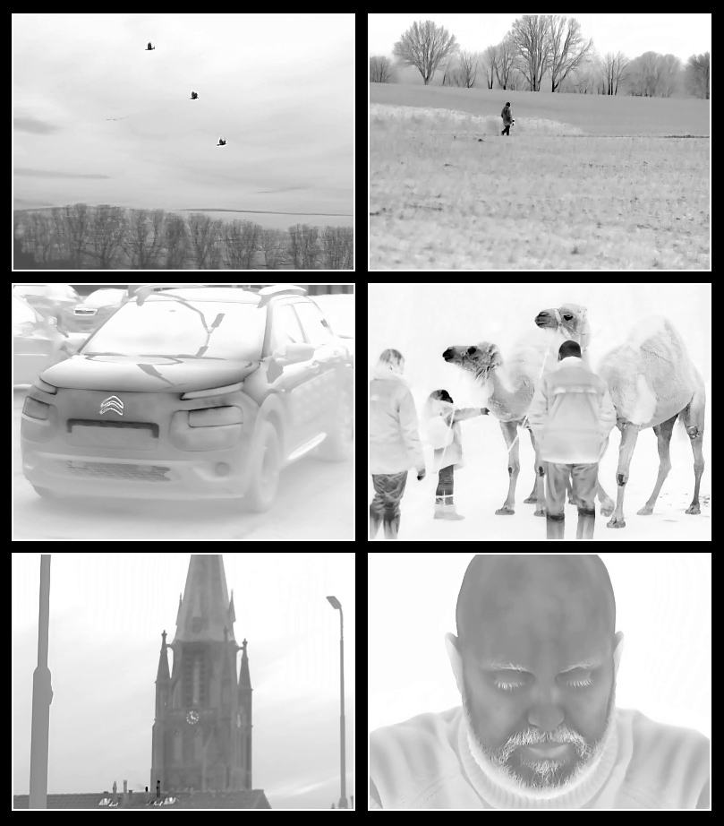 Various stills taken from LM6P thermal imaging footage