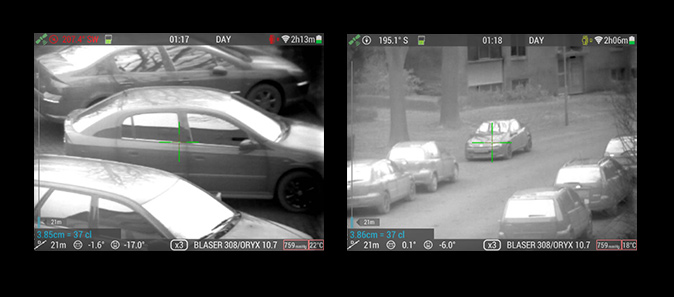 Cars captured on thermal imaging