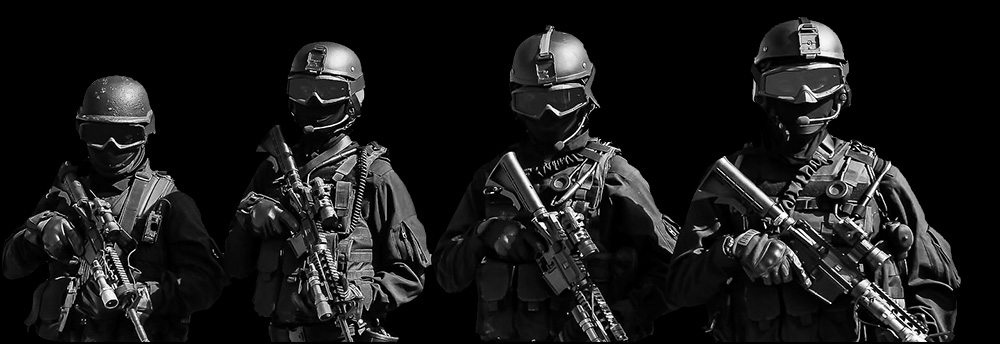 SWAT team with thermal imaging scopes